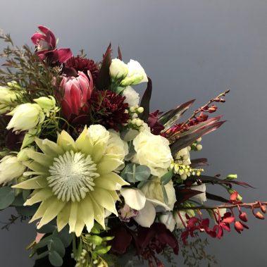 wedding bouquet, tamworth wedding, bridal bouquet, burgundy bouquet, tamworth weddings, tamworth florist, florist tamworth, tamworth wedding florist, boho bouquet, orchid bouquet, Protea bouquet