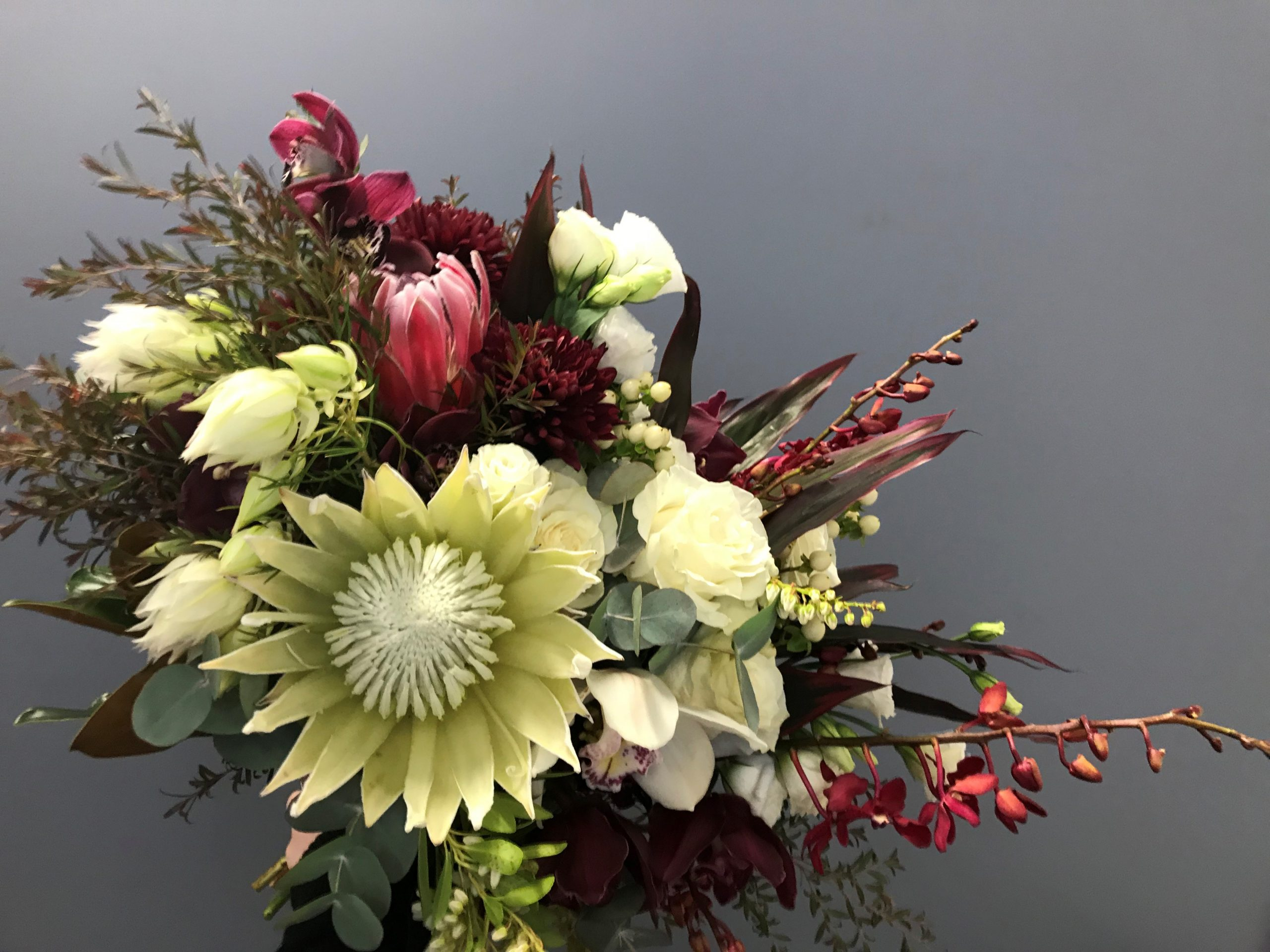 wedding bouquet, tamworth wedding, bridal bouquet, burgundy bouquet, tamworth weddings, tamworth florist, florist tamworth, tamworth wedding florist, boho bouquet, orchid bouquet, Protea bouquet