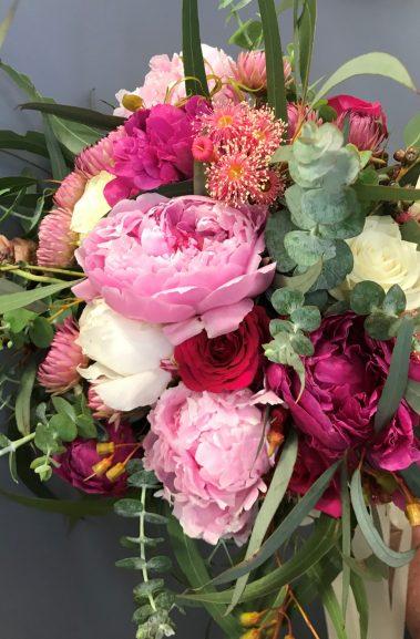 peony bouquet, bridesmaid bouquet, rural wedding, wedding bouquet, tamworth wedding, bright bouquet, bridal bouquet tamworth, tamworth weddings, tamworth florist, florist tamworth, tamworth wedding florist