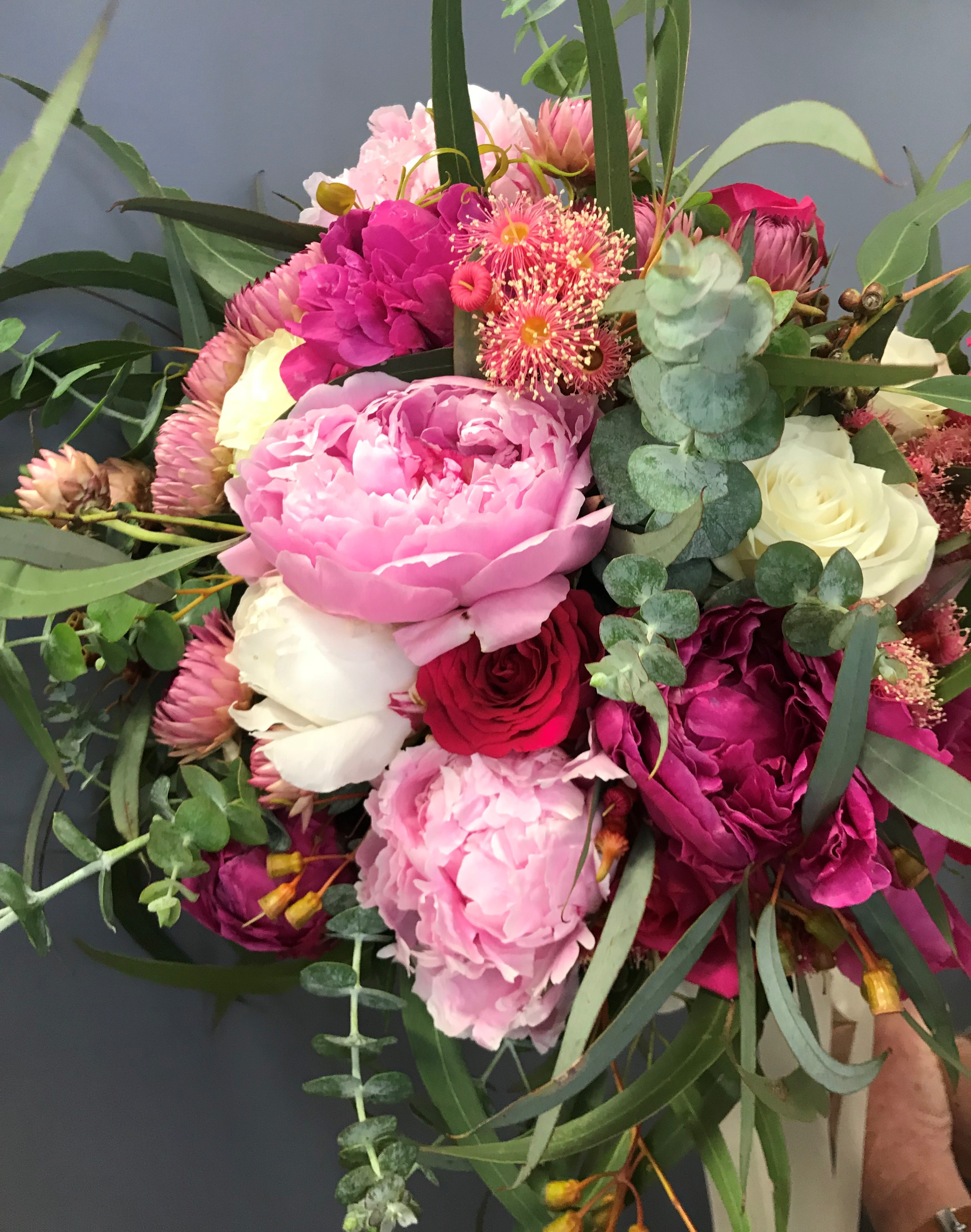 peony bouquet, bridesmaid bouquet, rural wedding, wedding bouquet, tamworth wedding, bright bouquet, bridal bouquet tamworth, tamworth weddings, tamworth florist, florist tamworth, tamworth wedding florist